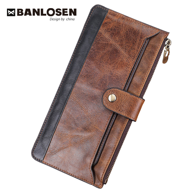 2019 Fashion Men Wallets with Coin Purse Long Male Money Purses Dollar Mens Money Phone Bag Genuine Leather Thin Clutch WalletWallets   -