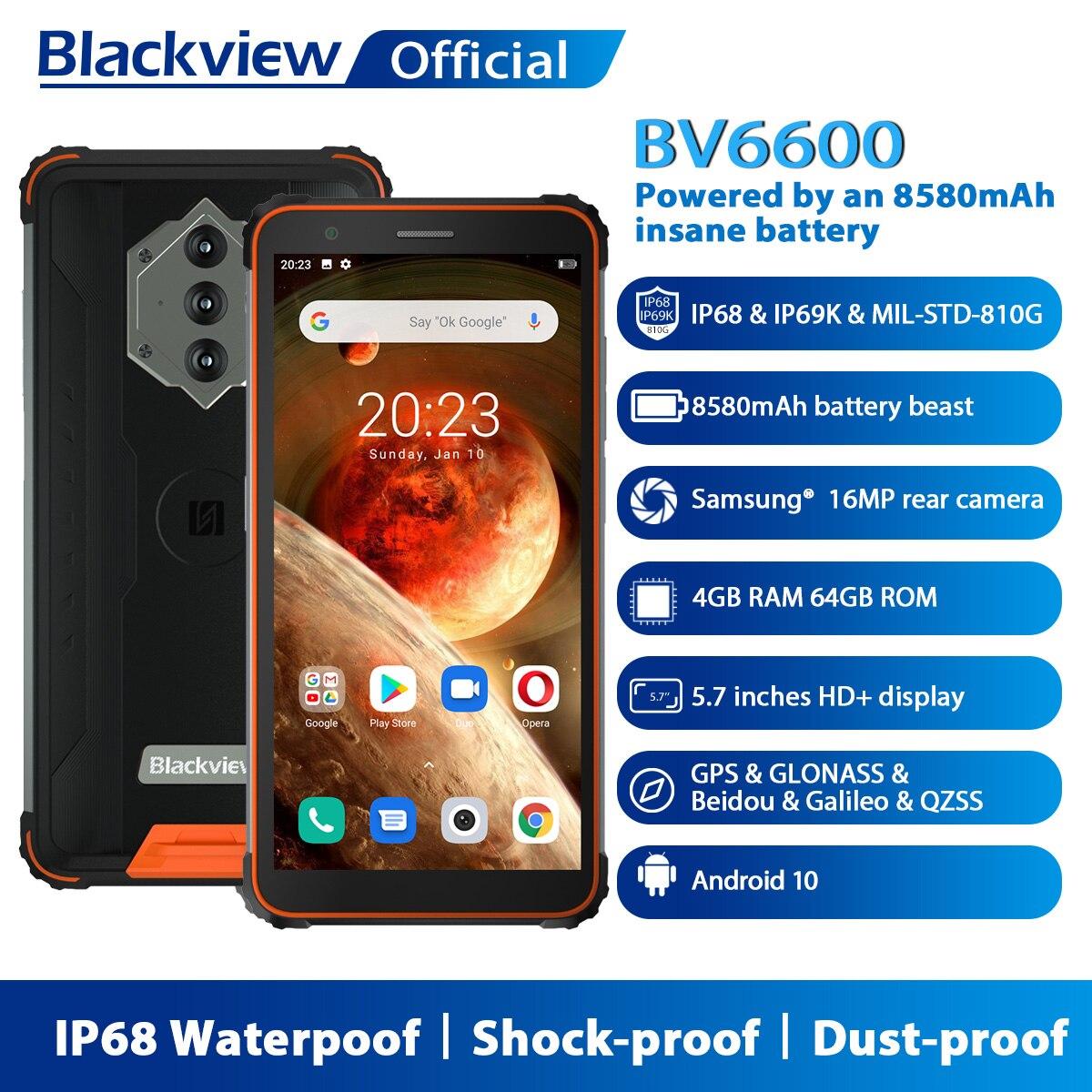 Blackview BV6600 IP68 Водонепроницаемый 8580 мА/ч, прочный смартфон противоударные телефоны 4 Гб + 64 Гб 5,7