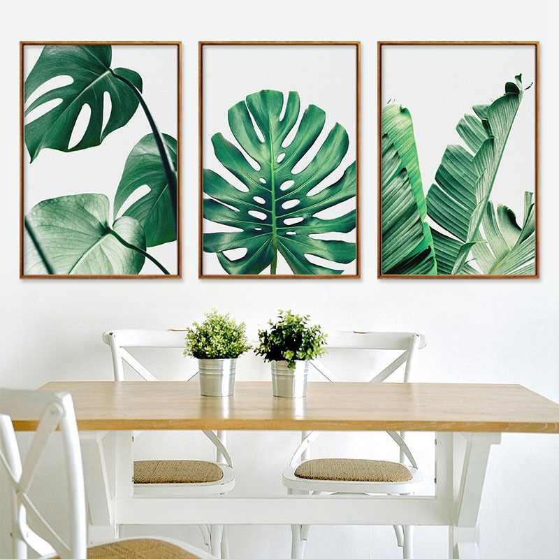 الشمال Monstera Deliciosa الأخضر أوراق النبات سلحفاة الظهر الخيزران قماش اللوحة الطباعة فرملس جدار صور لغرفة المعيشة