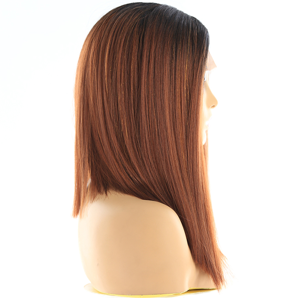 Image 3 - Ombre Green Blue Color Synthetic Lace Front Wigs For Black Women X TRESS Yaki Straight Blunt Short Bob Lace Wig Middle PartSynthetic Lace Wigs   -