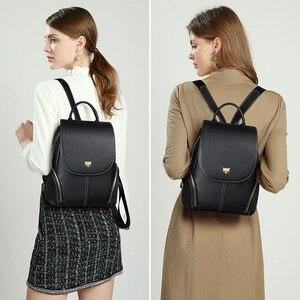 Image 3 - FOXER Cowhide Genuine Leather Girls School Bag Korean Simple Black Women Backpack Large Capacity Lady Casual Travel Rucksacks