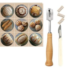 Bread Lame, Dough Scoring Knife Tool with 10 Replaceable Razor Blades and Leather Protective Cover(China)