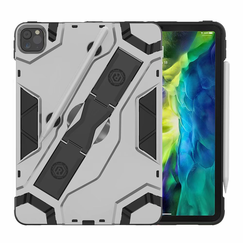 Silver Silver Shockproof Armor TPU PC Portable Hand Strap Stand Tablet Cover For Apple iPad Pro 11 inch