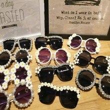 Gorgeous Women Round Sunglasses Crystal Diamond Pearl Handmade Eyewear UV400 Mir