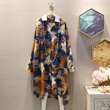 [EWQ] 2019 Демисезонный высокое качество с отложным воротником с длинными рукавами хит Цвета, с рисунком, из кусков, Однобортный Винтаж рубашка Для женщин AH48905