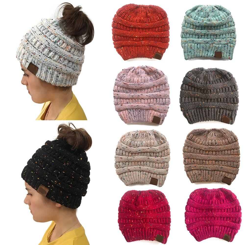 Women Fashion Hat Ponytail Cc Beanies Knitted Female Hat Beanie For Girls Cap Soft Warm Hats Ladies Gorros  Bonnet Wholesale