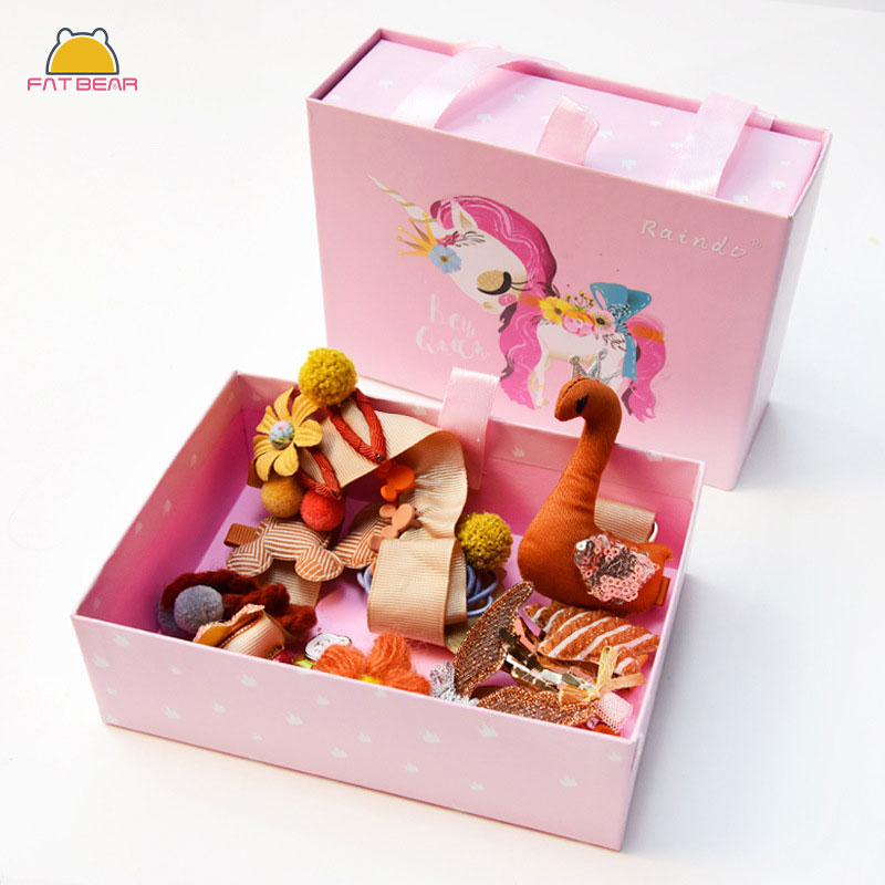 New Mix 24Pcs/lot Baby Hair Clips Unicorn Pattern Box Hair Bands Cartoon Animal Princess Hairpins For Girls Hair Accessories