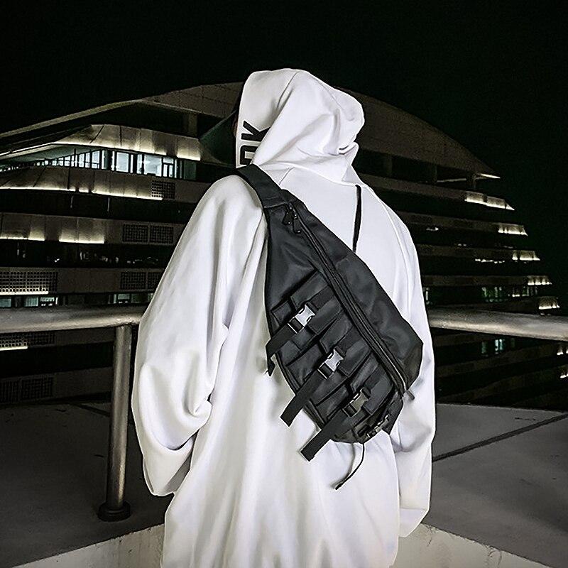 JHD-Waist Bag Men Waterproof Fashion Large Chest Pack Outdoor Sport Crossbody Bag Casual Multi-Pocket Travel Male Bum Belt Bag