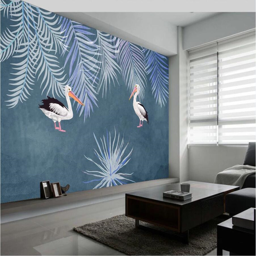 Milofi Custom Large Wallpaper Mural 3D Minimalist Nordic Hand-painted Tropical Plant Big Bird Abstract Background Wallpaper Mura