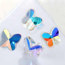 Crystal AB Hole Rhinestones K9 Glass Butterfly Shape DIY Hole Beads Colorful Glass Strass Jewelry Accessories Bracelet Beads 2000 lot 14mm colorful crystal glass beads in 1 hole for crystal chandelier parts home decoration