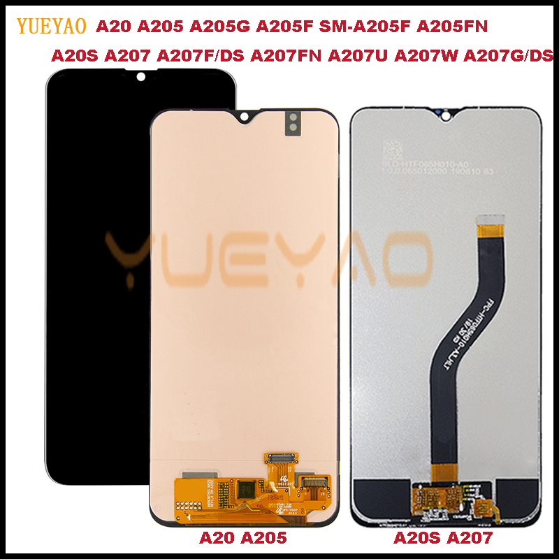 A20S A207 A207F/DS LCD Display For Samsung Galaxy A20 A205 A205G A205F SM-A205F A205FN LCD Display+Touch Screen Digitizer