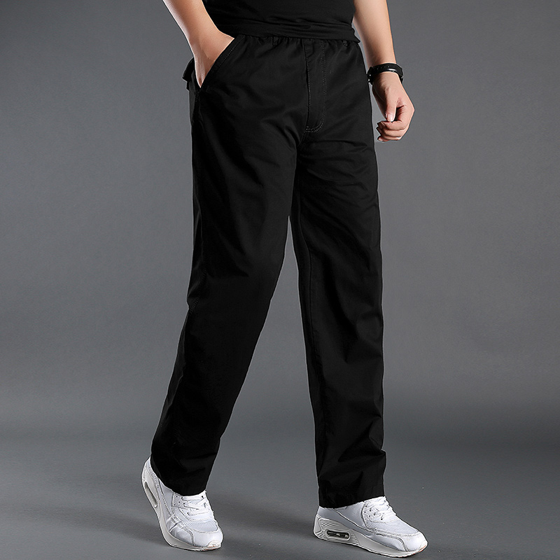New Black Mens Cargo Pants Pockets Full Length Pants Male Cotton Straight Trousers Homme Loose Thin Casual Pants Plus Size M-6XL