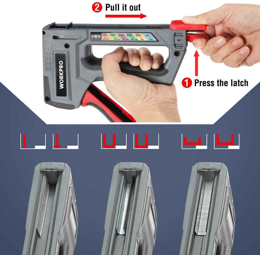 Tools : WORKPRO 6-in-1 Heavy Duty Staple Gun for Fixing Material Manual Nail Gun Wth Two Power Options for DIY Home Decor