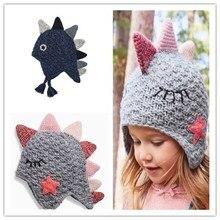 Новинка, двойная Милая вязаная шапка с динозавром для маленьких мальчиков и девочек, шапка на День Благодарения, зимние шапки