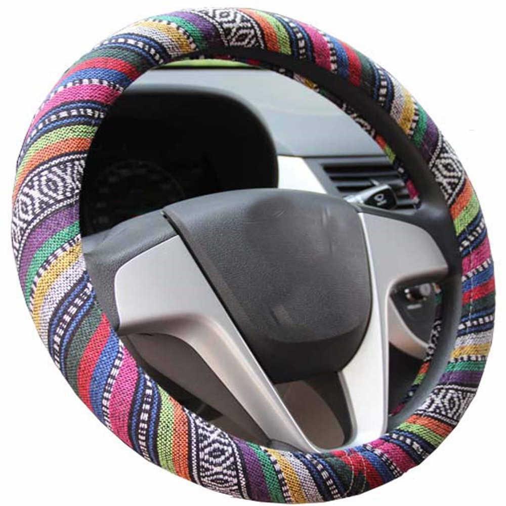 العالمي سيارة مرونة الكتان غطاء عجلة القيادة العرقية نمط سيارة القيادة-أغطية الاطارات s السيارات الديكور اكسسوارات السيارات