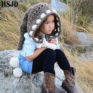 Image 3 - Çocuklar kış şapka el yapımı tığ işi Elf bere şapka çocuk sıcak örme gökkuşağı yanlış yaka Elf şapka kapşonlu kap erkek kız noel kap