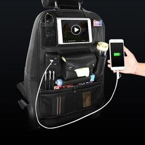 Image 3 - Новая сумка Органайзер из искусственной кожи на заднее сиденье автомобиля, складной органайзер для стола, карман для хранения, дорожная сумка, автомобильные аксессуары