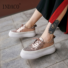 Womens Sneakers Rhinestone Lace Up Leather Pink Women Casual Shoes 6cm