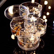 Jewelry Storage Box Multilayer Rotating Plastic Jewelry Stand Earrings Ring Box Cosmetics Beauty Container Organizer