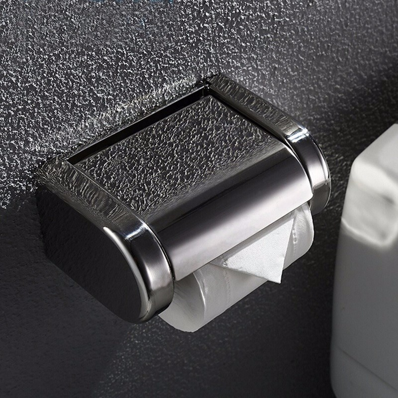 Toilet Tissue Roll Box  Polished Chrome Stainless Steel Wall Mounted Bathroom Paper Holder Roll Tissue Paper Holder