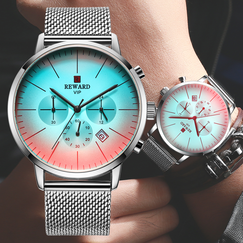 2020 New Multicolored Glass Fashion Men Watches REWARD Top Luxury Brand Chronograph Men's Silver Stainless Steel Wrist Watch