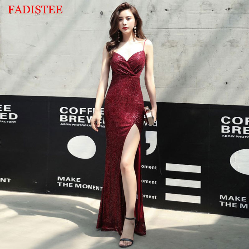 Burgundy Stretch Sequin Sexy Slit Pleat Trumpet Vestidos De Fiesta De Noche Prom Party Evening Dresses Robe De Soiree Gown Long