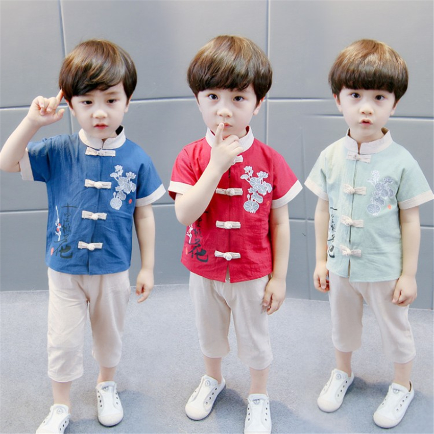 Boys Hanfu Traditional Chinese Clothing Kids Tang Suit Embroidery Short Sleeve Retro Ancient Costume Festival Outfit Top+Pant