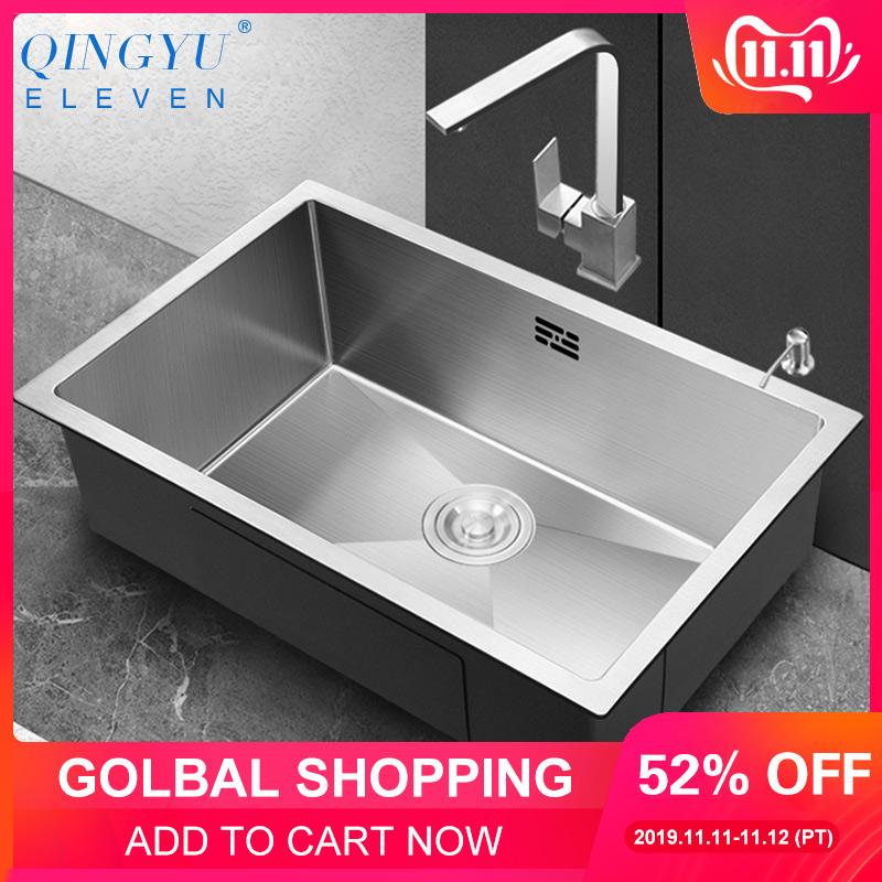 Large Size Kitchen Sink No Lead Handmade Brushed 304 Stainless Steel 3mm Thickness Single Bowl Bar Counter Kitchen Sink