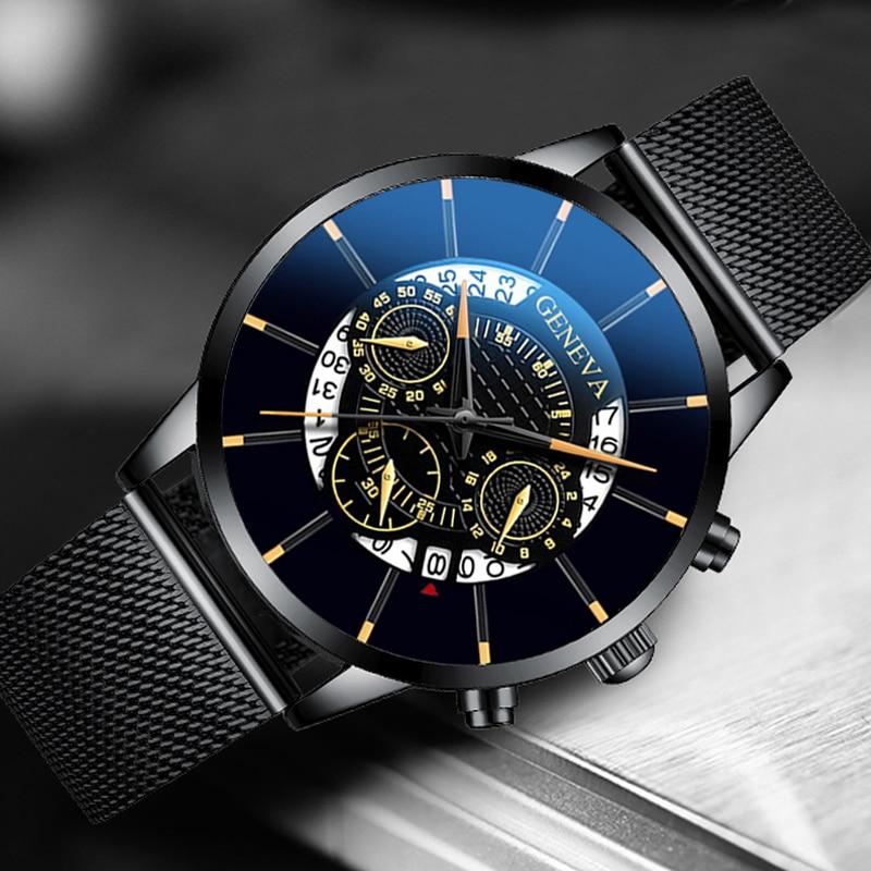 Luxury Men's Fashion Business Calendar Watches Blue Stainless Steel Mesh Belt Analog Quartz Watch relogio masculino 4