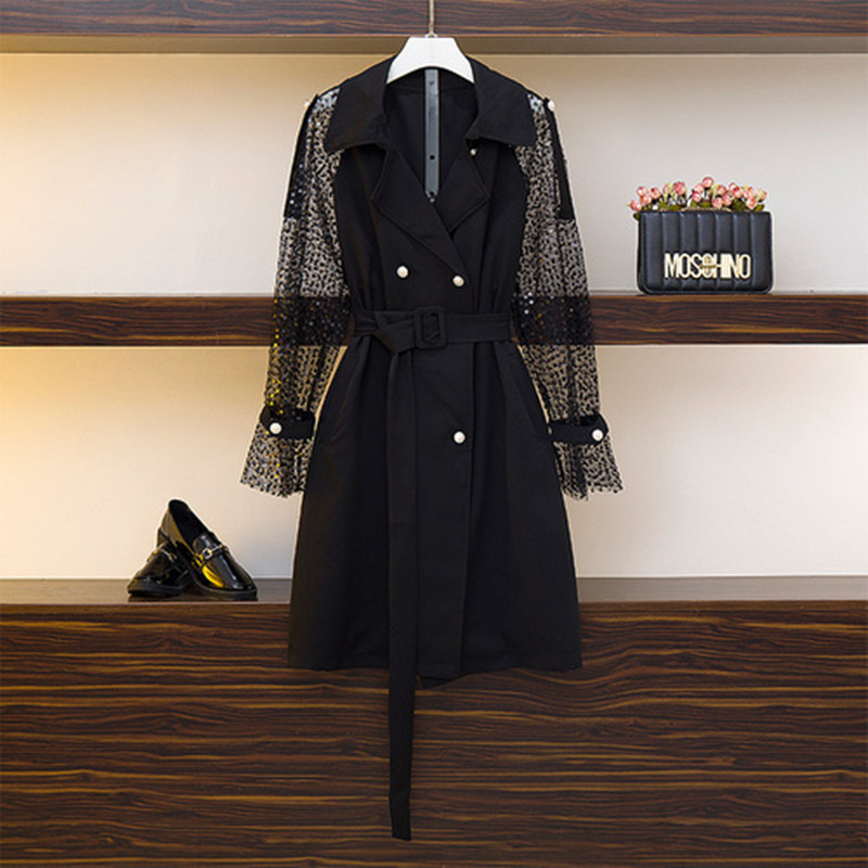 Women   Trench   Coat Mesh Patchwork Perspective Sequins Overcoat Long   Trench   Coat Black White Bandage Women Coat 2019 New Fashion