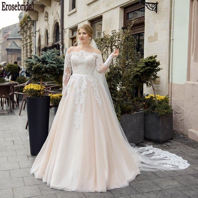 Elegant Scoop Wedding Dress Plus Size 2020 New Fashion Long Sleeve Wedding Dress Lace Beauty Lace Up Back Small Train