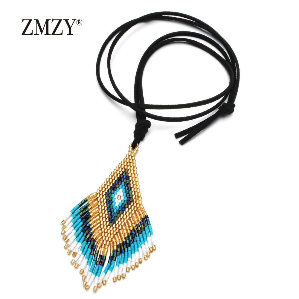 ZMZY Handmade Jewelry Delicas Bohemian Necklace Velvet Rope Chain Tassel MIYUKI Necklace Women Pendant uzun kolye moda mujer in Pendant Necklaces from Jewelry Accessories