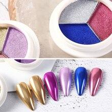 Смешанные 3 цвета зеркальный ногтевой порошок блеск пыли для металлическим эффектом хром лак для ногтей твердый порошок пигмент для ногтей искусство украшения порошок
