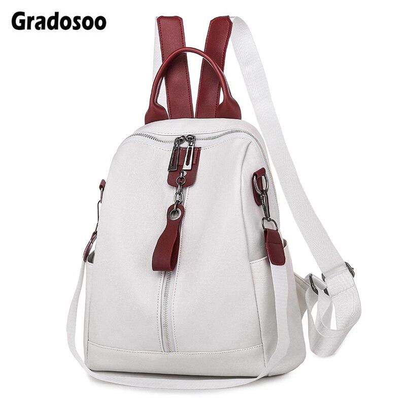 Gradosoo Fashion Women Backpack High Quality Backpack For Teenager Girl Female School Bag Luxury Bagpack Women PU Leather HMB660