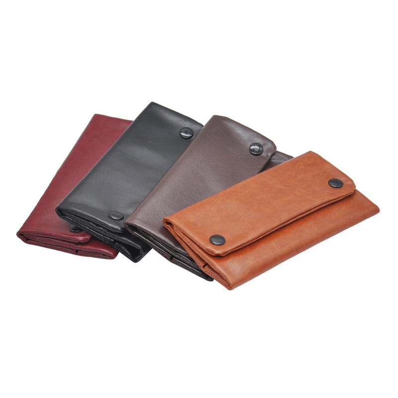 Portable Leather Tobacco Pouch Bag Cigarette Rolling Pipe Tobacco Long Section Wallet Bag Tobacco Storage Bag