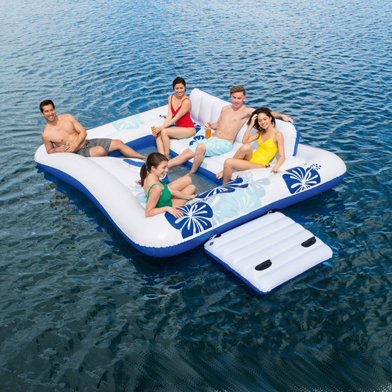 326*287CM Environmental Protection PVC Square Floating Island Recliner Water Swimming Float