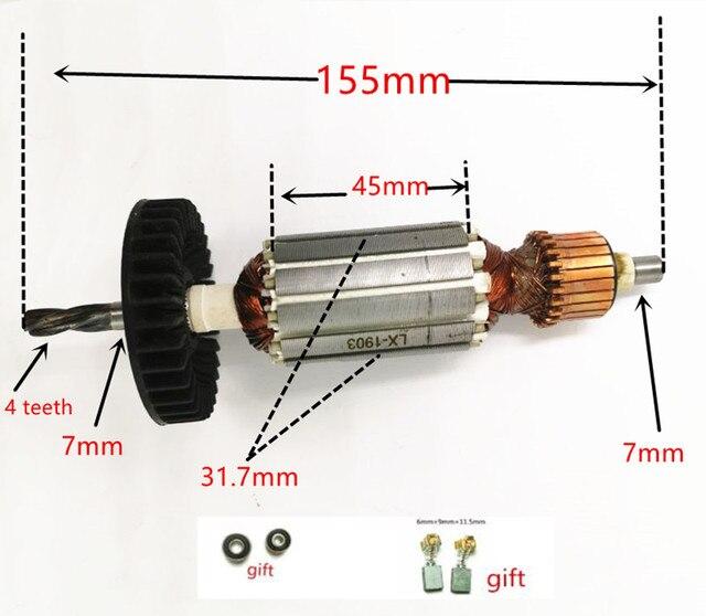 4 dentes AC220 240V substituição do rotor do motor da armadura para makita hp1620 hp1641 hp1640 hp1621 hp1641f hp1621f armadura