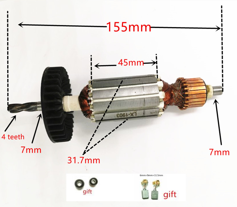 4 Teeth AC220-240V Armature Engine Motor Rotor Replacement For Makita HP1620 HP1641 HP1640 HP1621 HP1641F HP1621F Armature