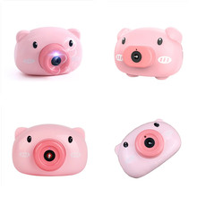 Cartoon Pig Animal Soap Children Bubble Maker Camera Machine  All Electric Concentrated  Light  Children's Christmas Gifts