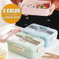 Lunch Box With Fork Spoon Dinnerware Food Storage Wheat Straw Microwave Container School Office Portable Bento Box Phone Holder