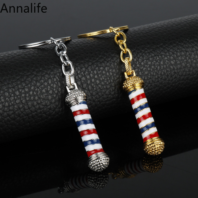 New Decorative Keychains Hairdressers Gift Car-styling Interior Accessories Barber Shop Key Rings Keyring