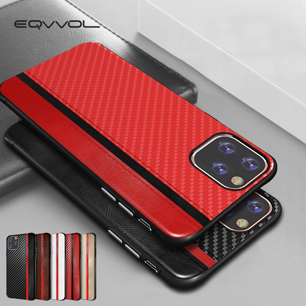 Eqvvol Business PU Leder Fall Für <font><b>iPhone</b></font> 11 Pro MAX X XR XS 8 7 6 <font><b>6s</b></font> Plus Carbon faser Splice <font><b>Capa</b></font> Coque Für <font><b>iPhone</b></font> 8 X Abdeckung image