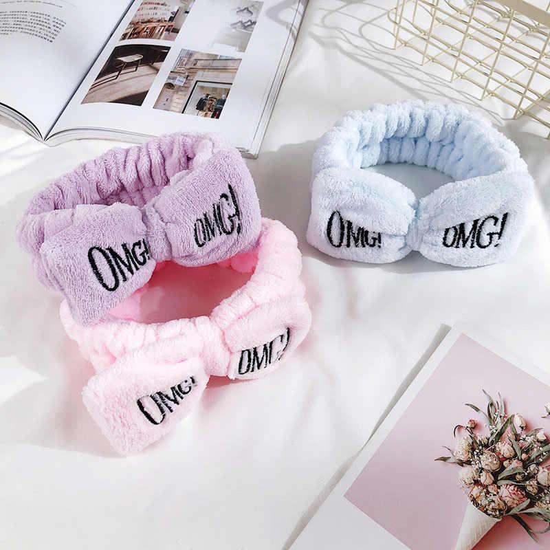 """Nuevas diademas para mujeres letras """"OGM"""" franela suave lazo niñas turbante lindo sostenedor del pelo bandas para el cabello accesorios para el cabello"""