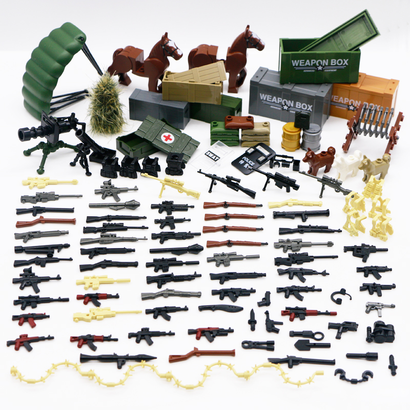 Building Blocks Military WW2 Weapon Guns Army Arms City Police Swat Team German 98K Mini Figure Equipment Accessories Bricks Toy
