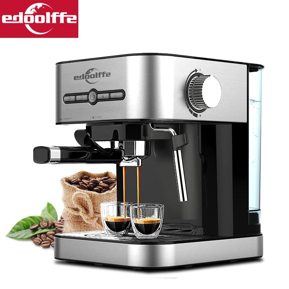 Edoolffe  Espresso Coffee Machine Built-In Milk Frother 15Bar Coffee Makers 1050W Cappuccino Machine   Automatic Coffee Machine