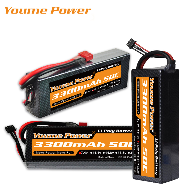 YOUME 3S 11.1V 4S 14.8V Lipo 2S 7.4V Battery 3300mAh 50C T DEAN Hard Case for Racing Airplane Off-Road Cars Drone RC Parts XT60 image