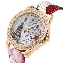 цена на Fashion Women Watch  Paris Tower Rhinestone Inlaid Belt Ladies Watch Bohemian Analog Quartz Wrist Watch Ladies Gift Женские часы