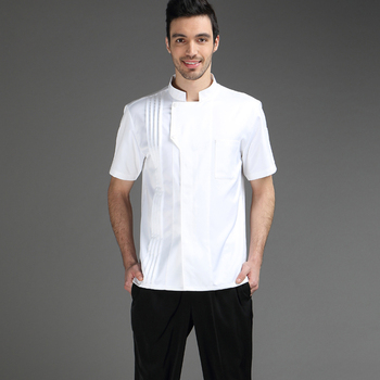 цена на VIAOLI Summer Chef Short Sleeve Men and Women Hotel Kitchen Clothes Cotton Chef Workwear Large Size S-5XL