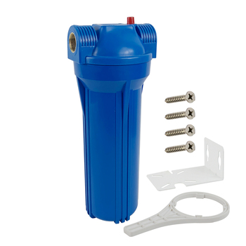 """Standard 10-inch Blue Water Filter Housing/Cansiter - 3/4"""" brass port include mounting bracket,wrench and screws"""