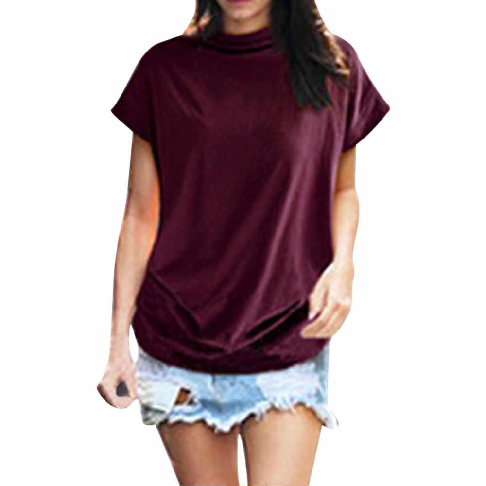 Mulheres Casual Top T Shirt Plus Size Gola streetwear haut femme Moda pura cor Sólida de Algodão de Manga Curta roupas feminina